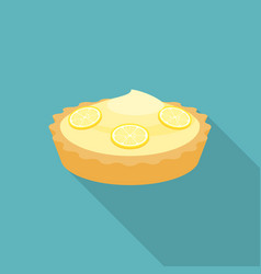 Pie lemon or cheese tart with lemon slice vector