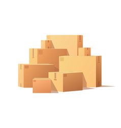 pile parcel cardboard boxes stacked sealed goods vector image