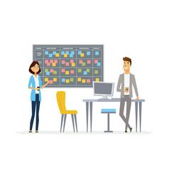 Planning system - modern cartoon business vector