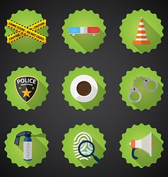 police security flat icon set include road cone vector image