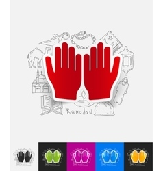 prayer paper sticker with hand drawn elements vector image
