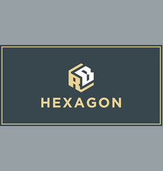 rb hexagon logo design inspiration vector image