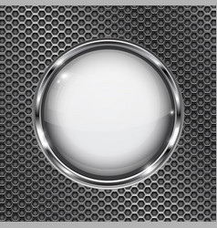 round white 3d button with chrome frame on metal vector image