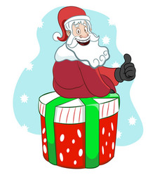 Santa sitting on a present thumbs up vector