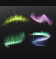 Set northern aurora light effects realistic vector
