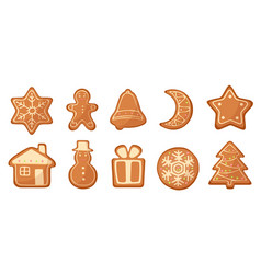 set of cartoon gingerbread christmas vector image