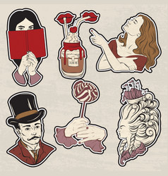 set of hand drawn unique vintage trendy badges vector image