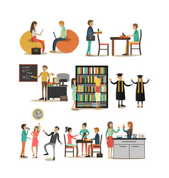 Set of university people icons in flat vector