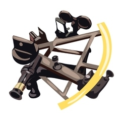 Sextant in cartoon style on white background vector