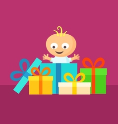 Smiling baby with gifts vector