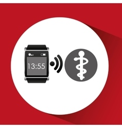 Square smart watch health medical symbol vector
