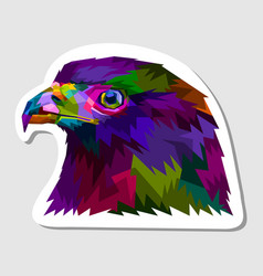 sticker colorful eagle head vector image