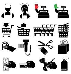 Supermarket icon set vector image