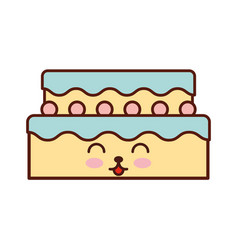 sweet and delicious cake kawaii character vector image