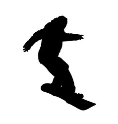 Teenager on snowboard descending silhouette vector