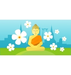 Thai god Buddha sit on meadow over city landscape vector