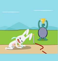 tortoise win rabbit lose at finish line vector image