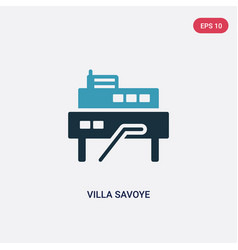 Two color villa savoye icon from monuments vector