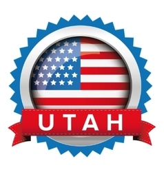 Utah and USA flag badge vector image