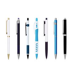 Various automatic spring ballpoint pens set vector