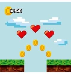 Video game pixel design vector
