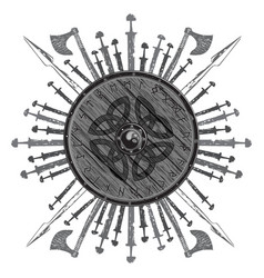 Viking design the shield of a with runes vector
