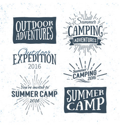 Vintage summer camp typographic retro logo vector