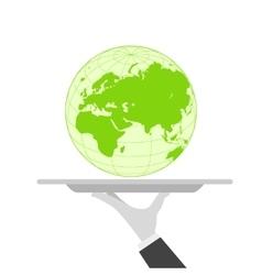 waiter tray earth vector image