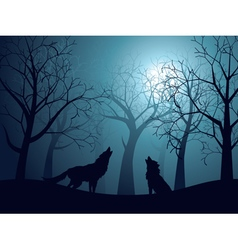 Wolf howling in night forest3 vector