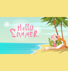 Woman on beach hello summer vacation tropical vector