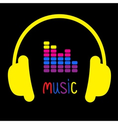 Yellow headphones equalizer and word Music vector