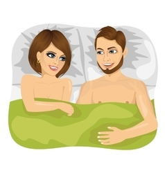 Young happy couple in bed vector