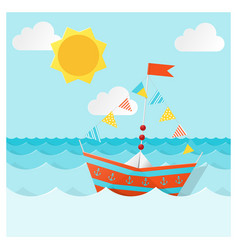 colorful paper ship sailing on the sea vector image