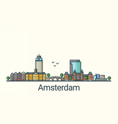 flat line amsterdam banner vector image