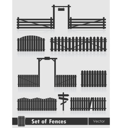 Set of black fences with gate vector image vector image