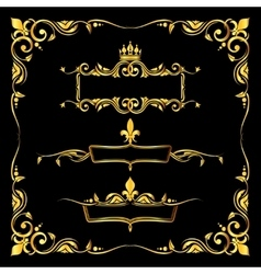 Set of ornate golden royal frames black background vector image vector image