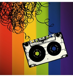 Audiocassette tape with tangled On rainbow stripes vector image