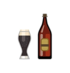 Beer glass and bottle vector image