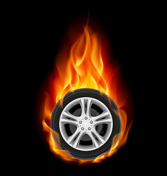 car wheel on fire on black vector image
