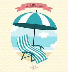 Card with beach armchair and umbrella Summer time vector image