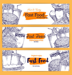 fast food sketch banners vector image