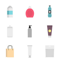 food drink cosmetic package icons set flat style vector image vector image