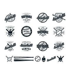 set of baseball and softball badges vector image vector image