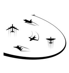 Airplanes and jets symbols for any flight design vector image