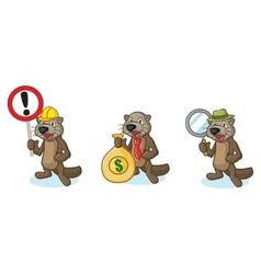 Dark Brown Sea Otter Mascot with money vector image vector image