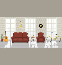 loft studio interior big windows white brick vector image vector image