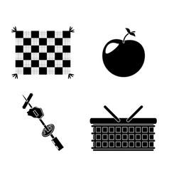 picnic basket grilled food apple blanket vector image vector image