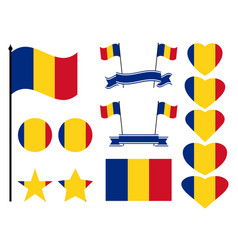 romania flag set collection of symbols heart vector image