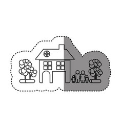 sticker of monochrome contour of family away from vector image vector image