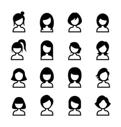 woman hair style icon set vector image vector image